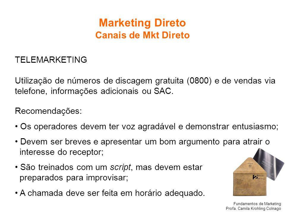 Marketing Direto Canais de Mkt Direto TELEMARKETING