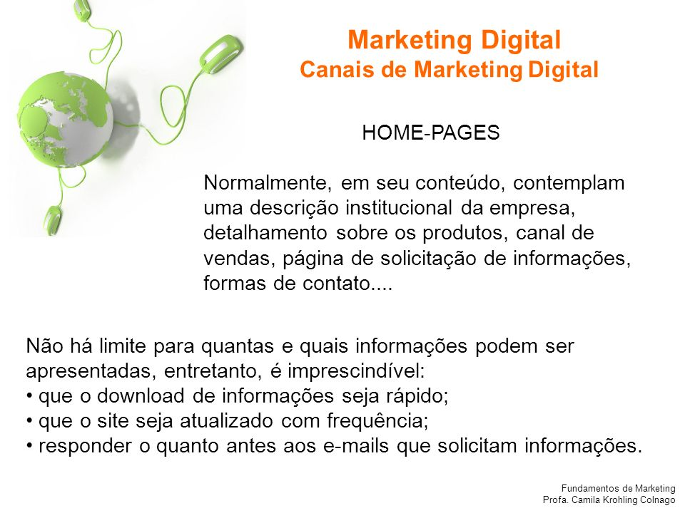 Marketing Digital Canais de Marketing Digital HOME-PAGES