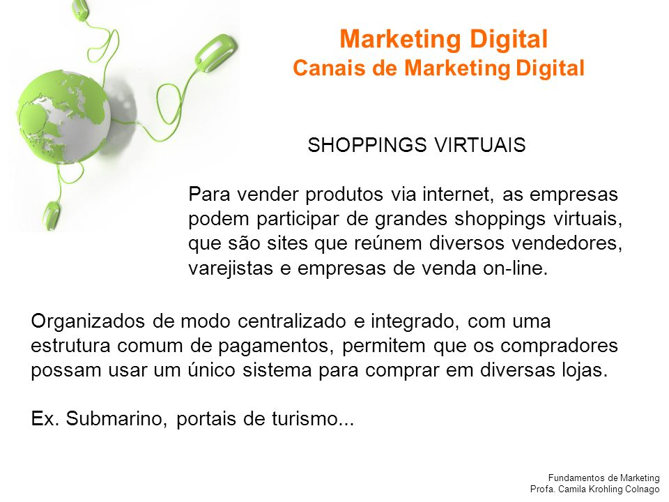 Marketing Digital Canais de Marketing Digital SHOPPINGS VIRTUAIS