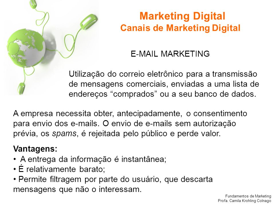 Marketing Digital Canais de Marketing Digital E-MAIL MARKETING