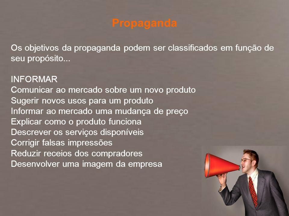 PropagandaOs objetivos da propaganda podem ser classificados em função de seu propósito... INFORMAR.