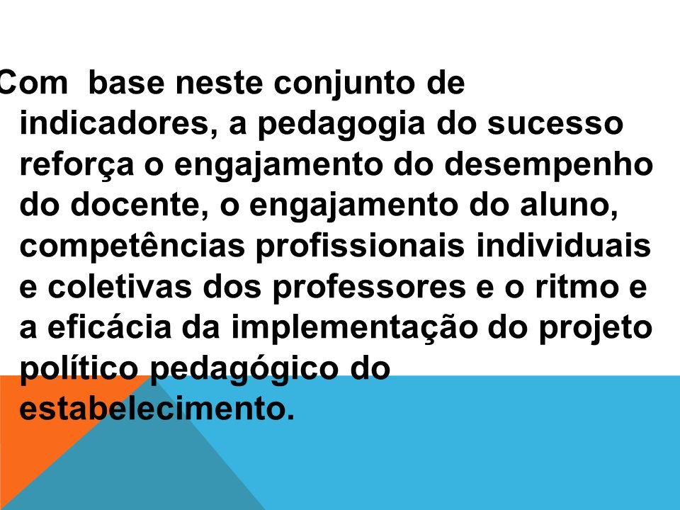 Com base neste conjunto de indicadores, a pedagogia do sucesso reforça o engajamento do desempenho do docente, o engajamento do aluno, competências profissionais individuais e coletivas dos professores e o ritmo e a eficácia da implementação do projeto político pedagógico do estabelecimento.