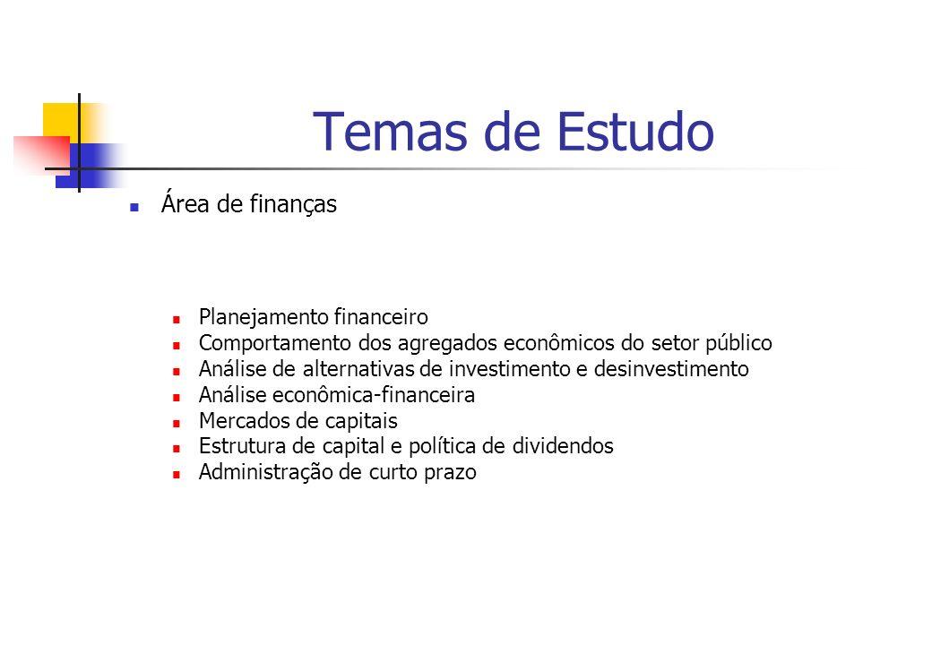 Temas de Estudo Área de finanças Planejamento financeiro