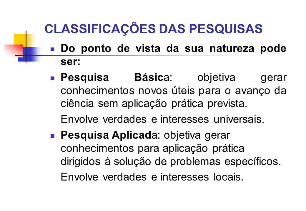 CLASSIFICAÇÕES DAS PESQUISAS