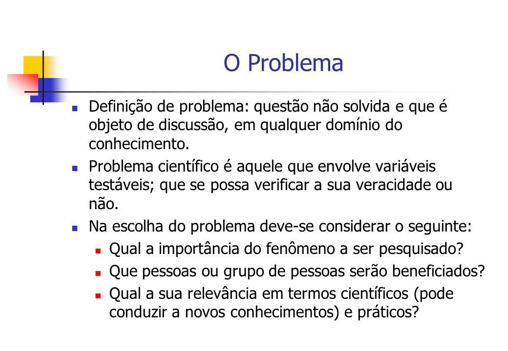 O Problema Definição de problema: questão não solvida e que é objeto de discussão, em qualquer domínio do conhecimento.