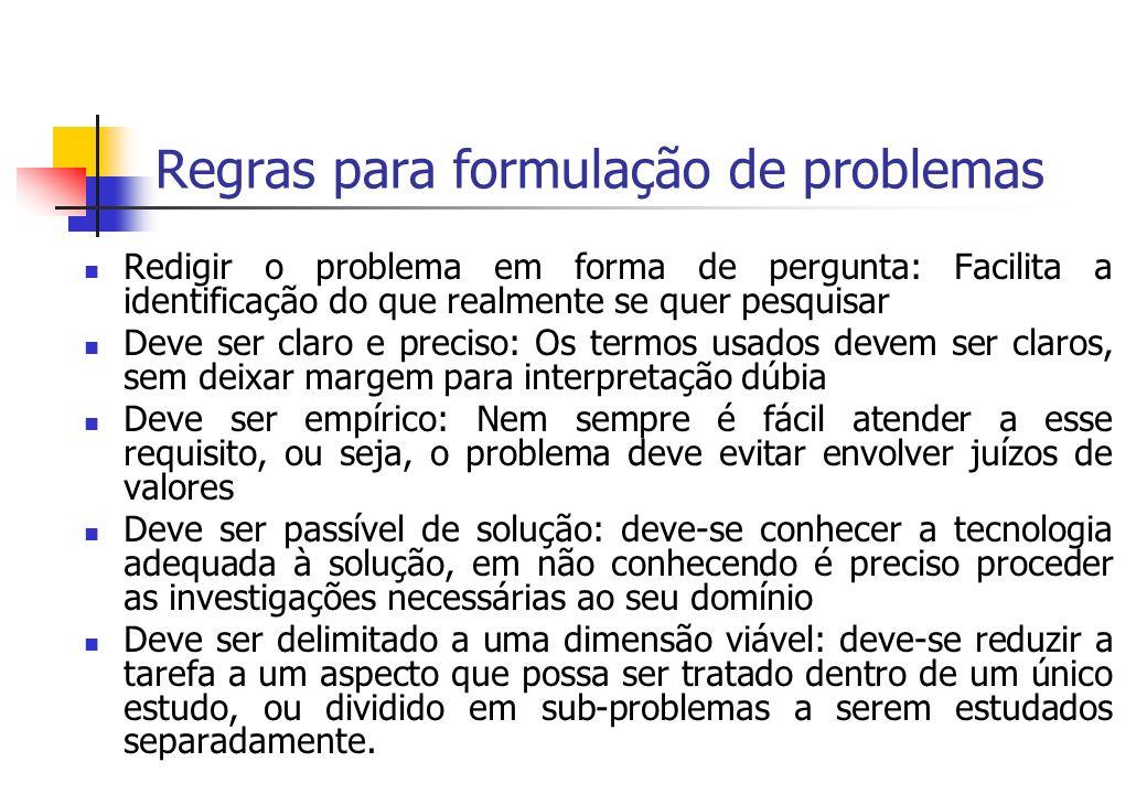 Regras para formulação de problemas