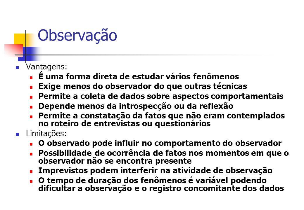 Observação Vantagens: É uma forma direta de estudar vários fenômenos