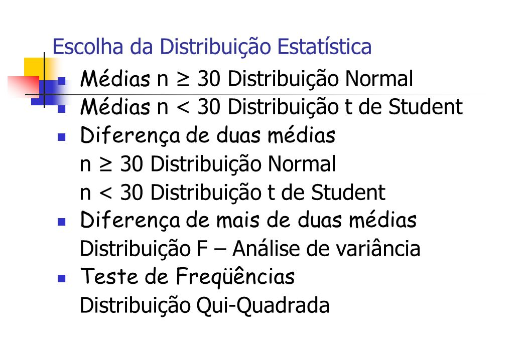Escolha da Distribuição Estatística