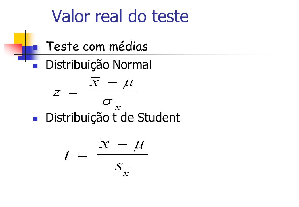 Valor real do teste Teste com médias Distribuição Normal