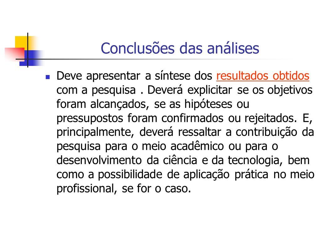 Conclusões das análises