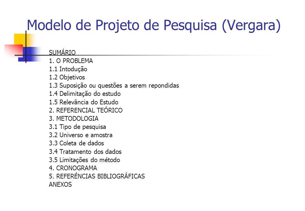 Modelo de Projeto de Pesquisa (Vergara)