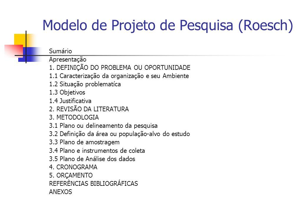 Modelo de Projeto de Pesquisa (Roesch)