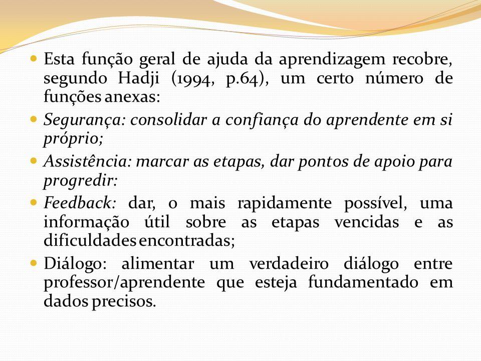 Esta função geral de ajuda da aprendizagem recobre, segundo Hadji (1994, p.64), um certo número de funções anexas: