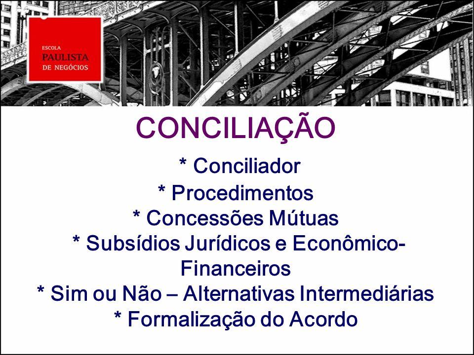 CONCILIAÇÃO. Conciliador. Procedimentos. Concessões Mútuas