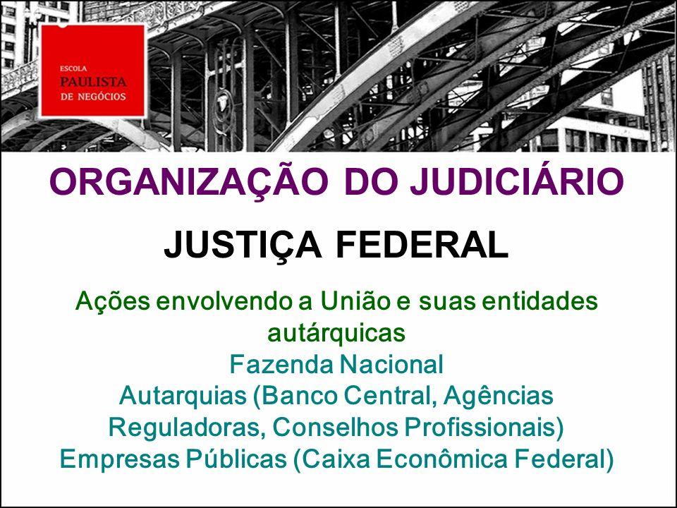 ORGANIZAÇÃO DO JUDICIÁRIO JUSTIÇA FEDERAL Ações envolvendo a União e suas entidades autárquicas Fazenda Nacional Autarquias (Banco Central, Agências Reguladoras, Conselhos Profissionais) Empresas Públicas (Caixa Econômica Federal)
