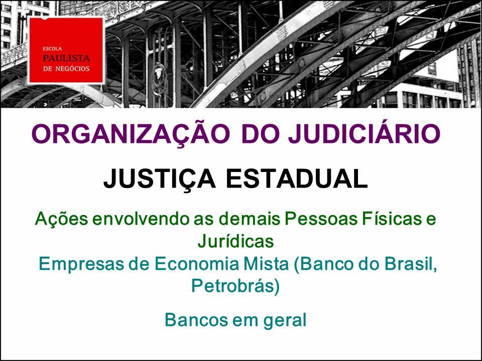 ORGANIZAÇÃO DO JUDICIÁRIO JUSTIÇA ESTADUAL Ações envolvendo as demais Pessoas Físicas e Jurídicas Empresas de Economia Mista (Banco do Brasil, Petrobrás) Bancos em geral