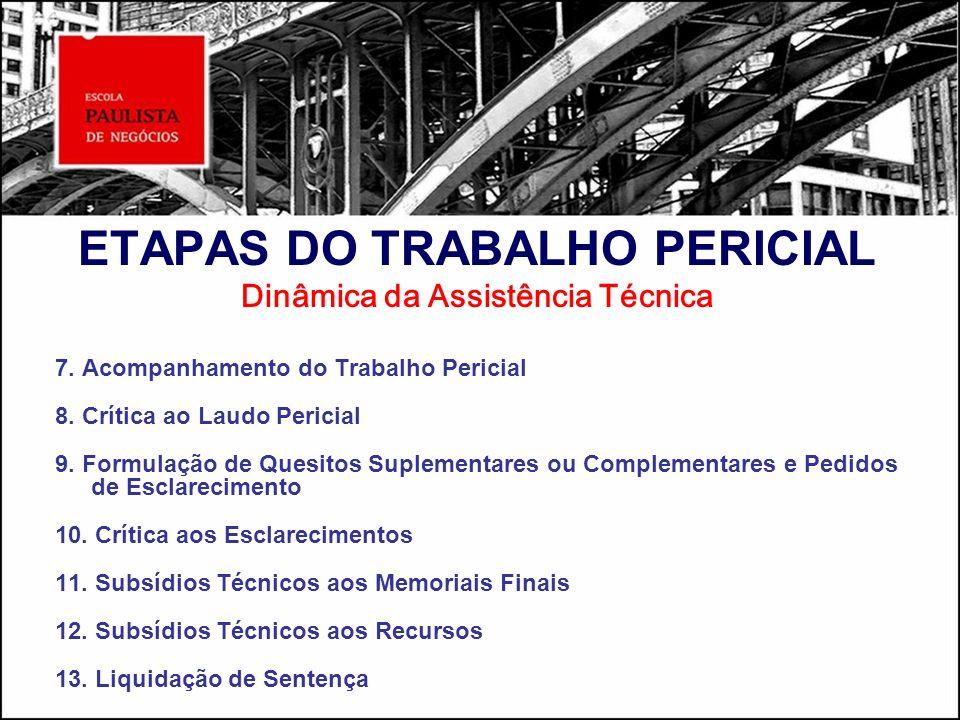 ETAPAS DO TRABALHO PERICIAL Dinâmica da Assistência Técnica