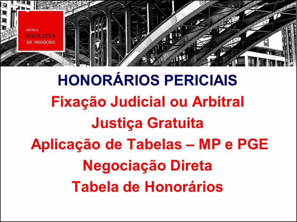 Fixação Judicial ou Arbitral Aplicação de Tabelas – MP e PGE