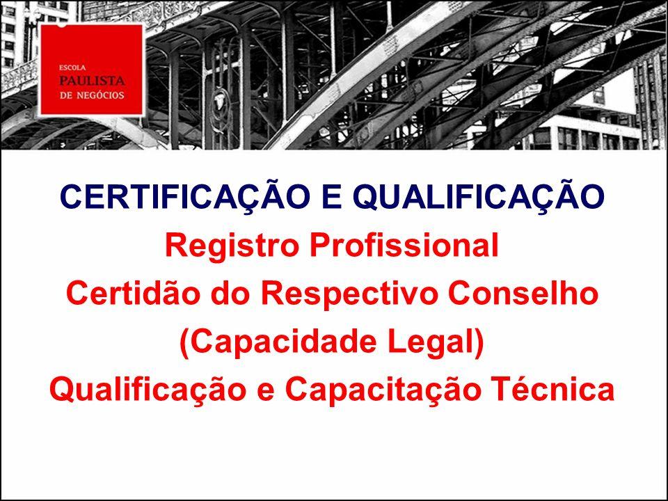 CERTIFICAÇÃO E QUALIFICAÇÃO Registro Profissional