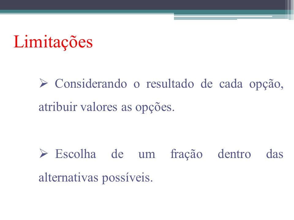 Limitações Considerando o resultado de cada opção, atribuir valores as opções.