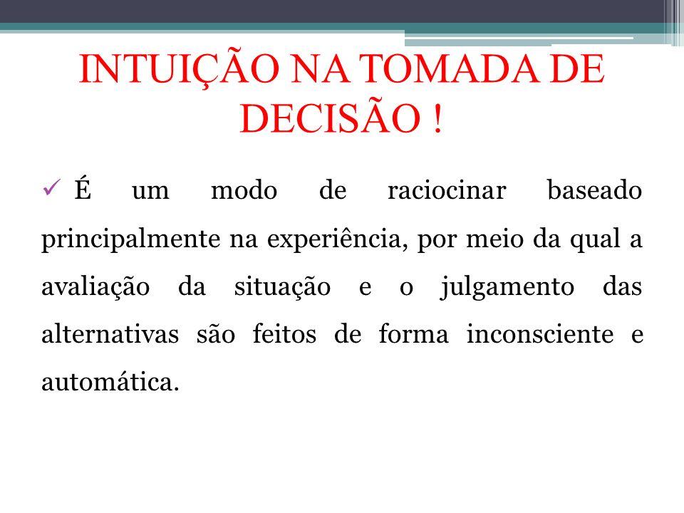 INTUIÇÃO NA TOMADA DE DECISÃO !