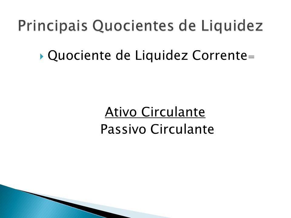 Principais Quocientes de Liquidez