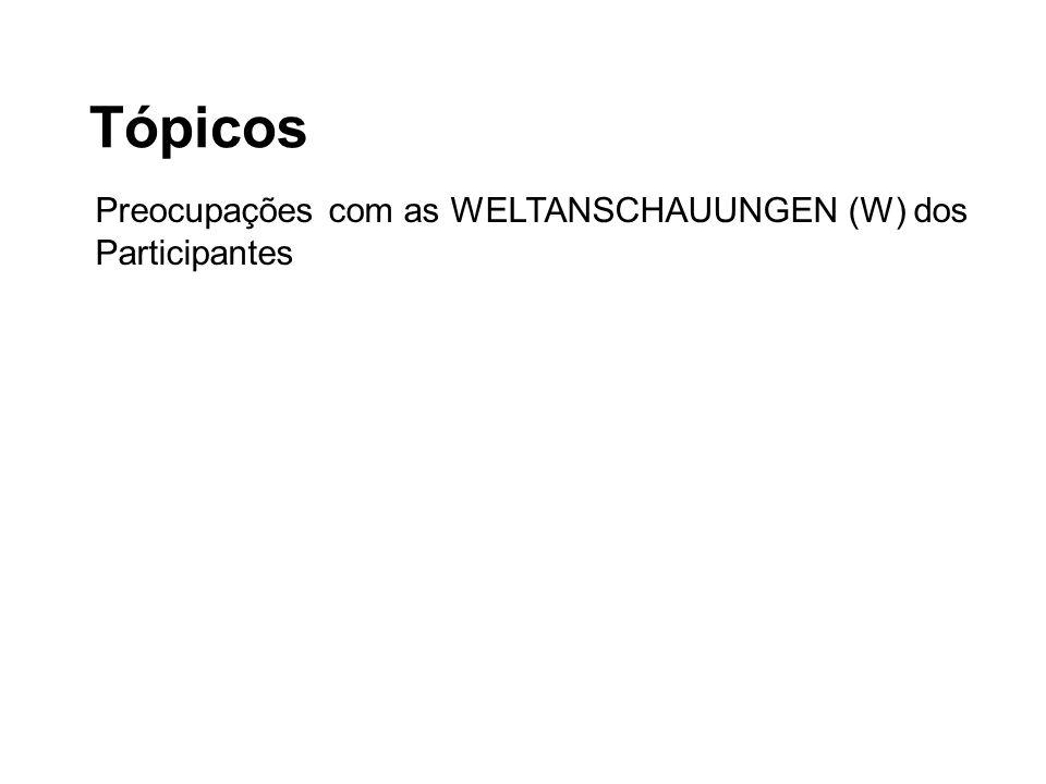 Tópicos Preocupações com as WELTANSCHAUUNGEN (W) dos Participantes