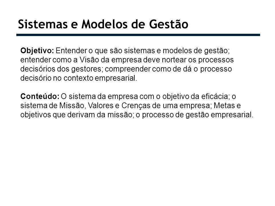 Sistemas e Modelos de Gestão