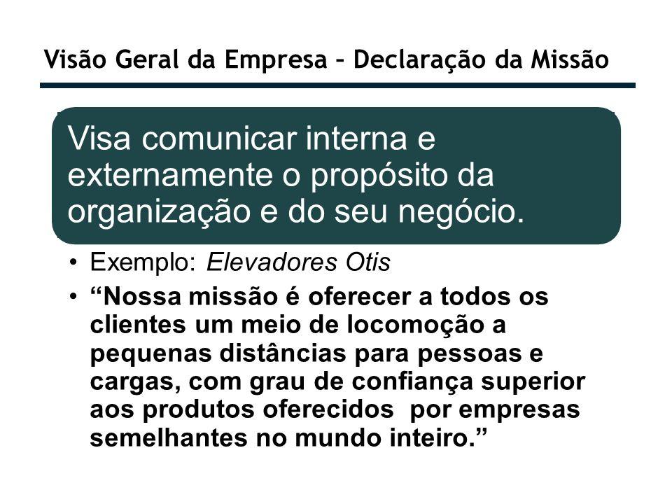 Visão Geral da Empresa – Declaração da Missão