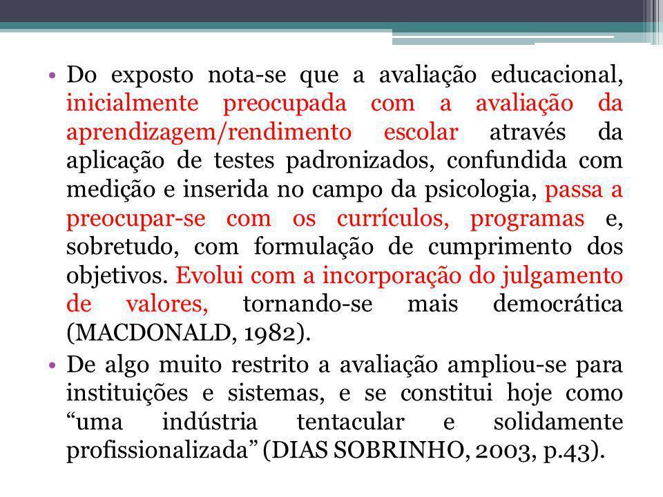 Do exposto nota-se que a avaliação educacional, inicialmente preocupada com a avaliação da aprendizagem/rendimento escolar através da aplicação de testes padronizados, confundida com medição e inserida no campo da psicologia, passa a preocupar-se com os currículos, programas e, sobretudo, com formulação de cumprimento dos objetivos. Evolui com a incorporação do julgamento de valores, tornando-se mais democrática (MACDONALD, 1982).