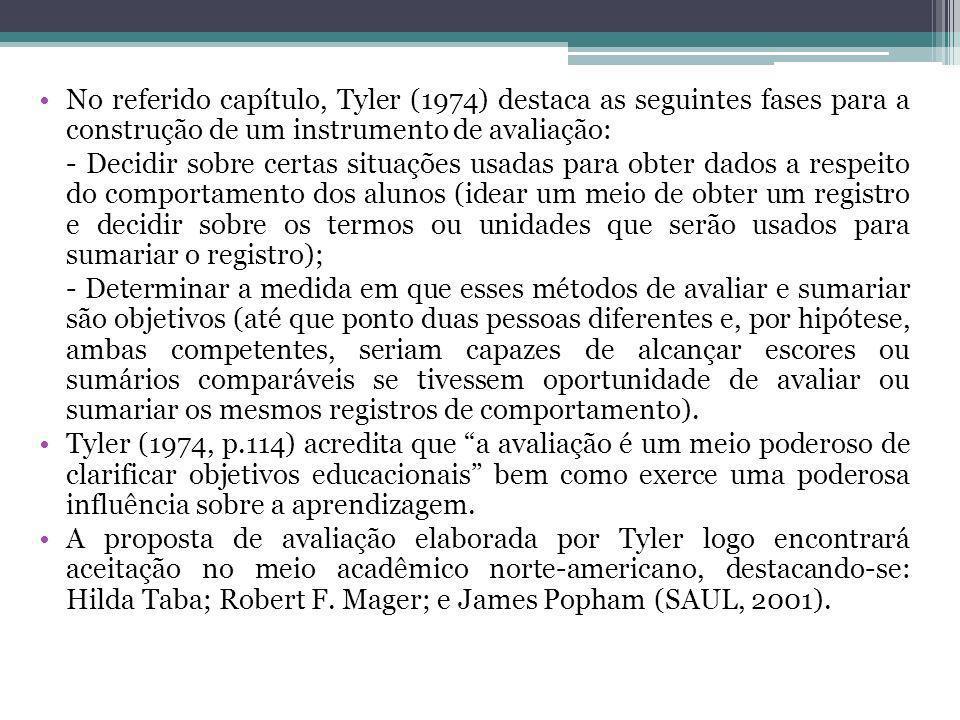 No referido capítulo, Tyler (1974) destaca as seguintes fases para a construção de um instrumento de avaliação: