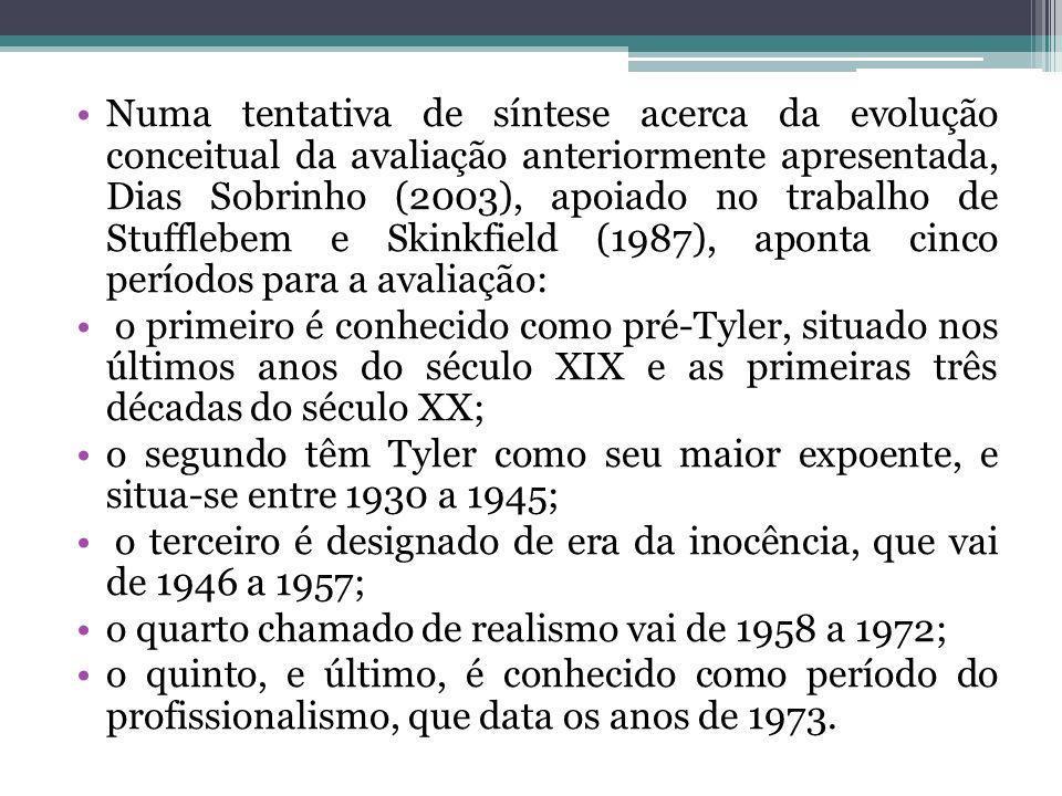Numa tentativa de síntese acerca da evolução conceitual da avaliação anteriormente apresentada, Dias Sobrinho (2003), apoiado no trabalho de Stufflebem e Skinkfield (1987), aponta cinco períodos para a avaliação: