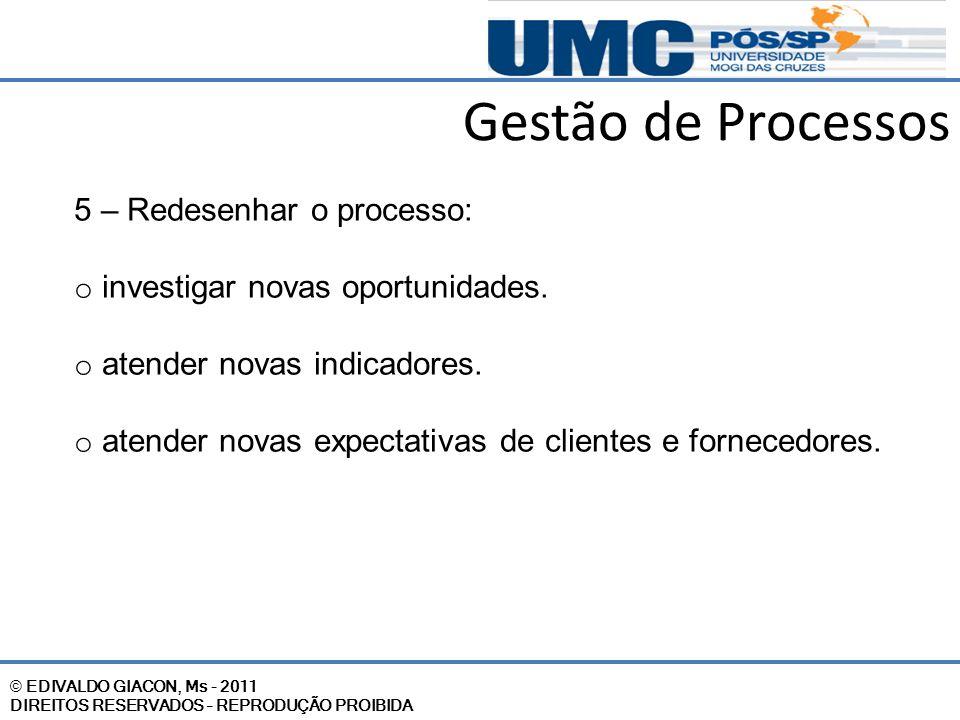 Gestão de Processos 5 – Redesenhar o processo: