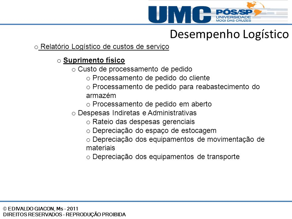 Desempenho Logístico Relatório Logístico de custos de serviço