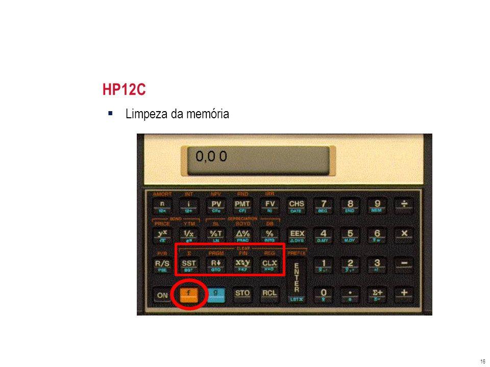 HP12C Limpeza da memória