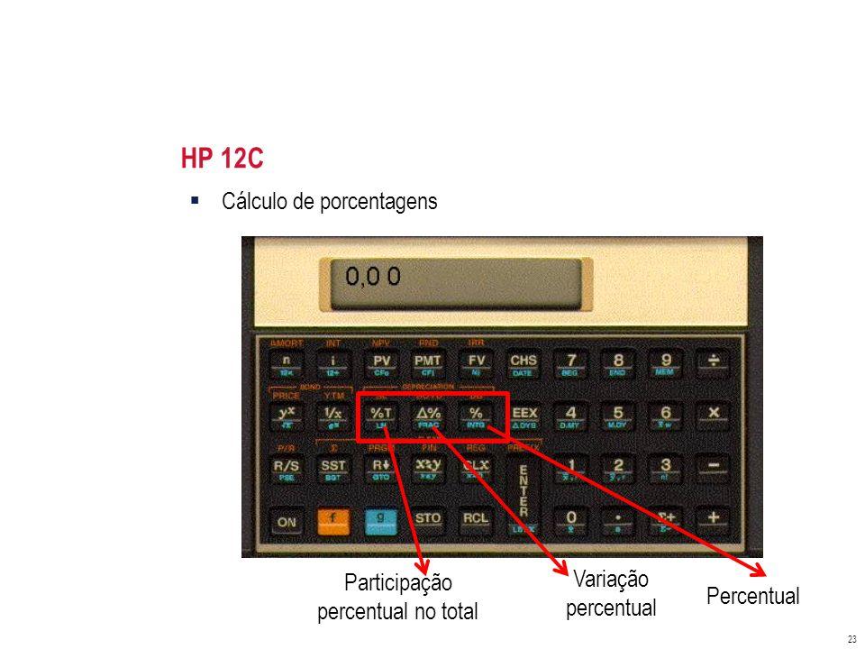 HP 12C Cálculo de porcentagens Variação Participação percentual