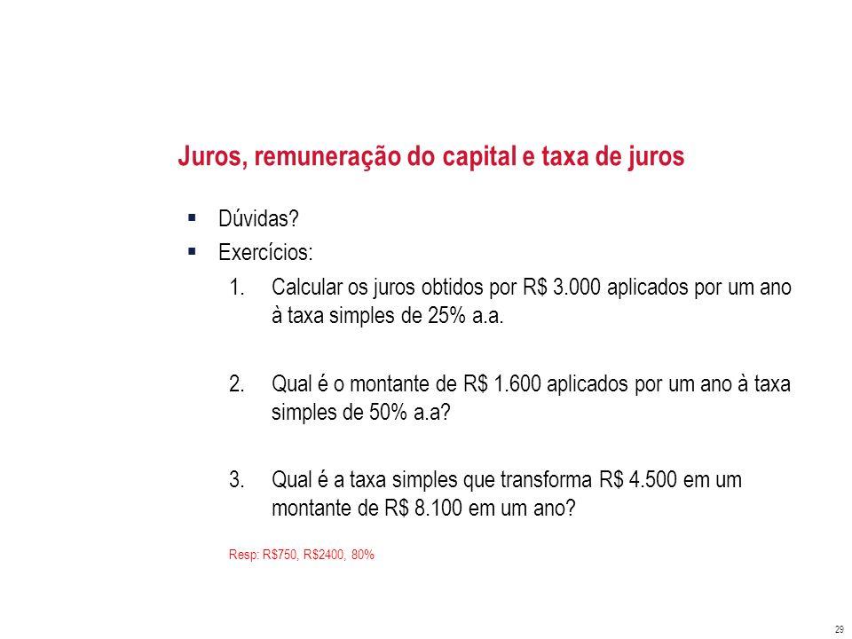 Juros, remuneração do capital e taxa de juros