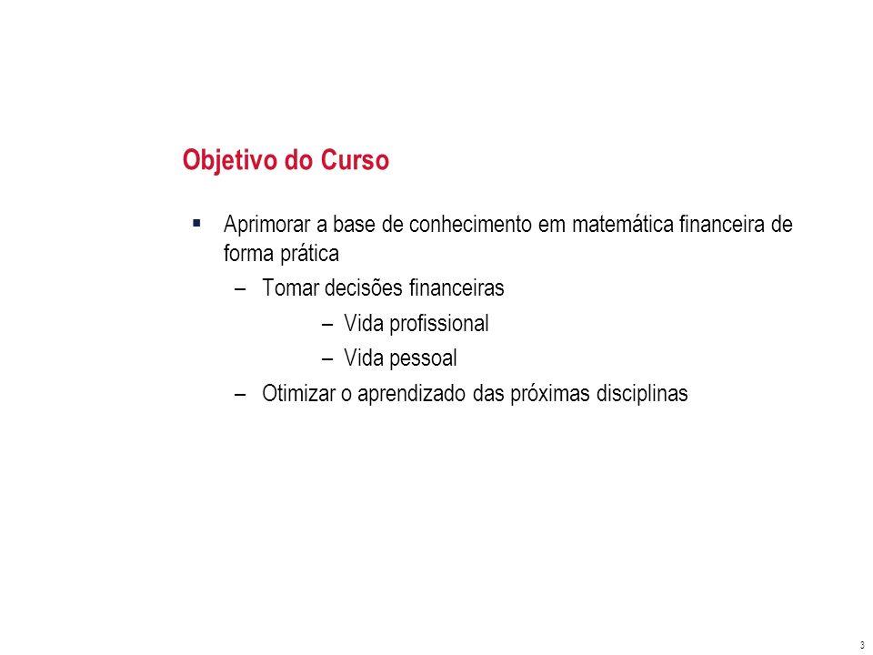 Objetivo do Curso Aprimorar a base de conhecimento em matemática financeira de forma prática. Tomar decisões financeiras.