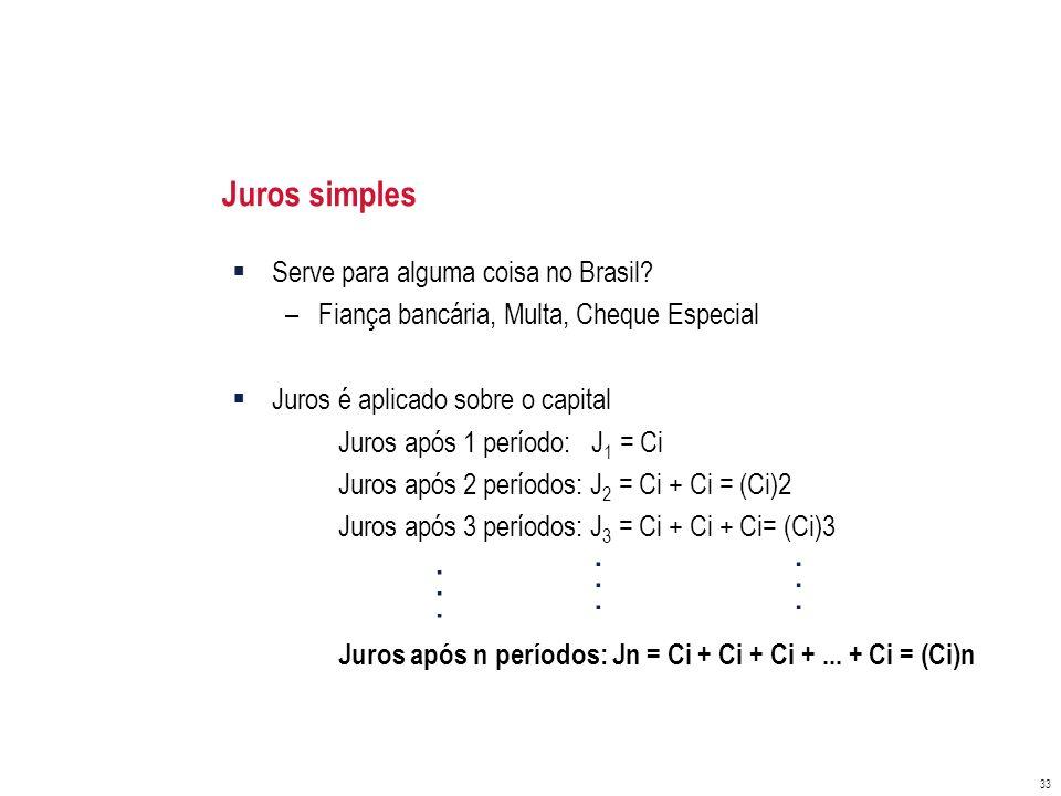 . . . . . . . . . Juros simples Serve para alguma coisa no Brasil
