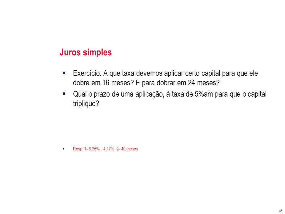 Juros simples Exercício: A que taxa devemos aplicar certo capital para que ele dobre em 16 meses E para dobrar em 24 meses