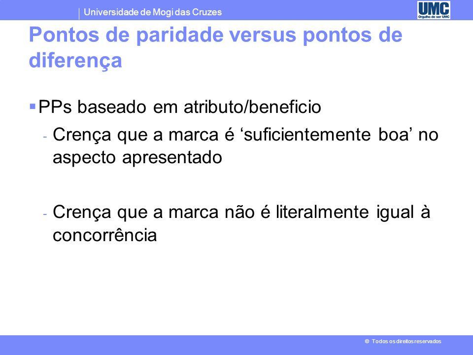 Pontos de paridade versus pontos de diferença