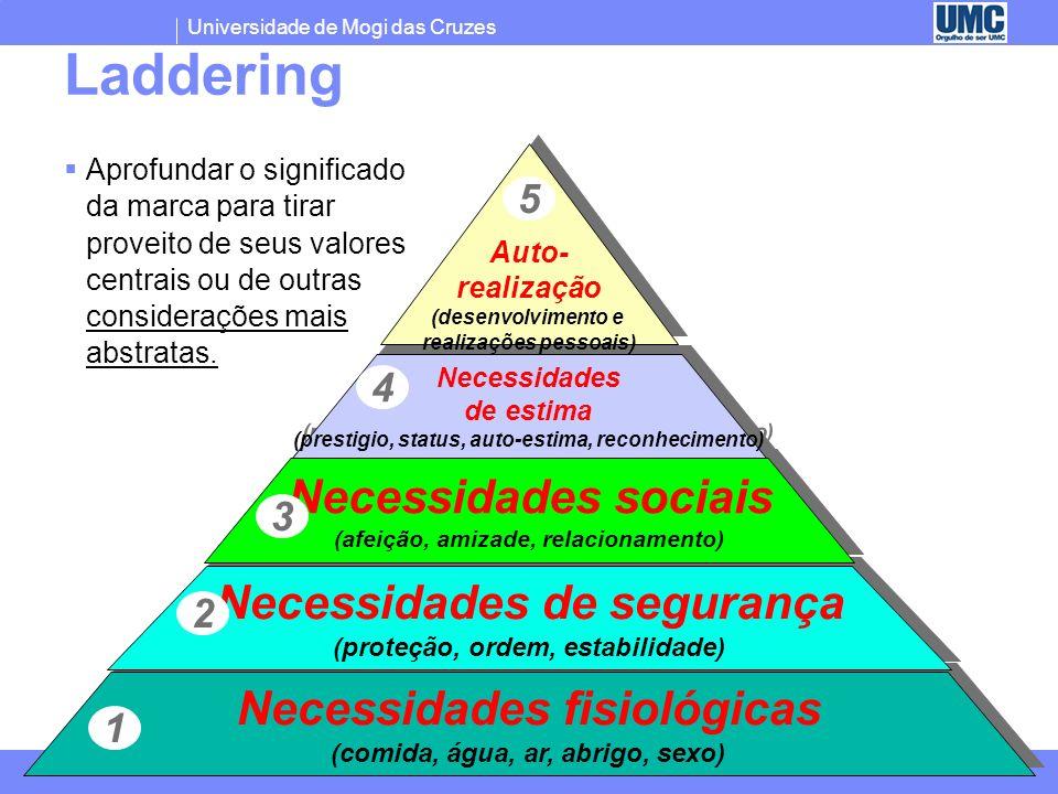 Laddering Necessidades sociais Necessidades de segurança