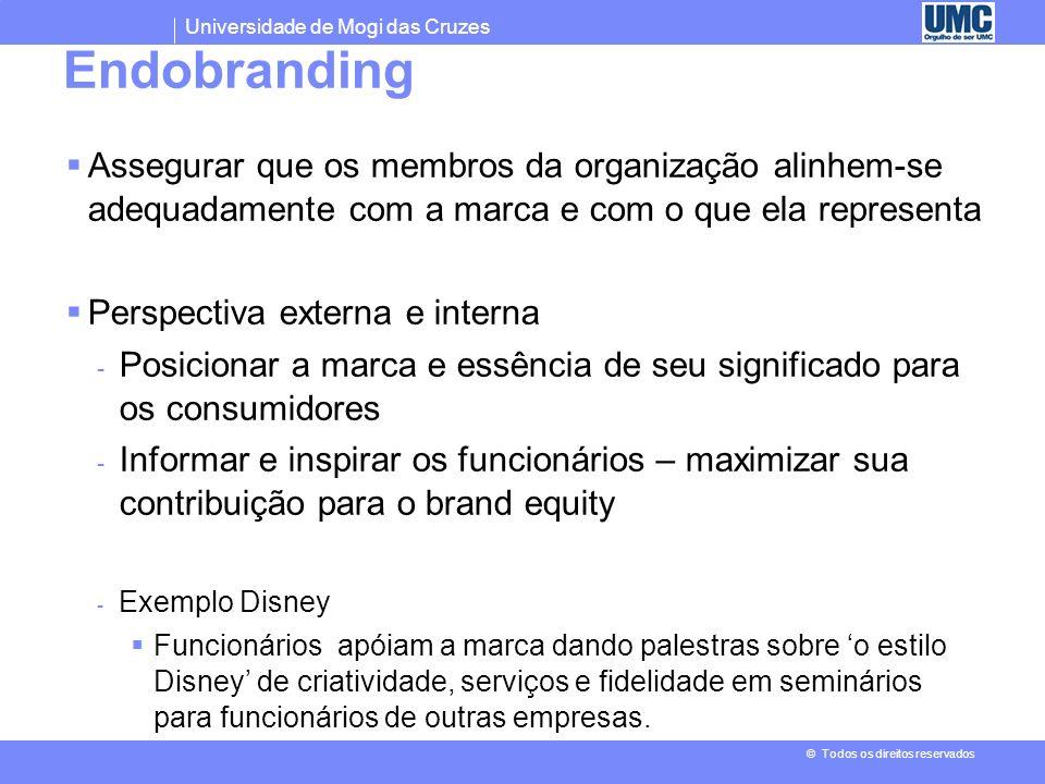 Endobranding Assegurar que os membros da organização alinhem-se adequadamente com a marca e com o que ela representa.