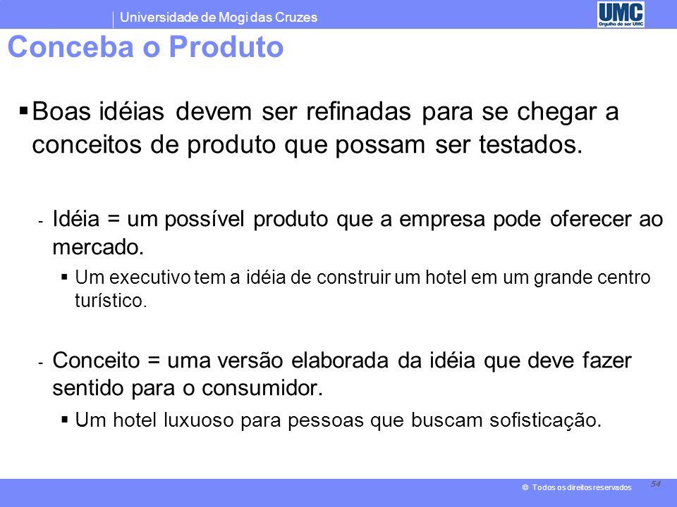 Conceba o Produto Boas idéias devem ser refinadas para se chegar a conceitos de produto que possam ser testados.