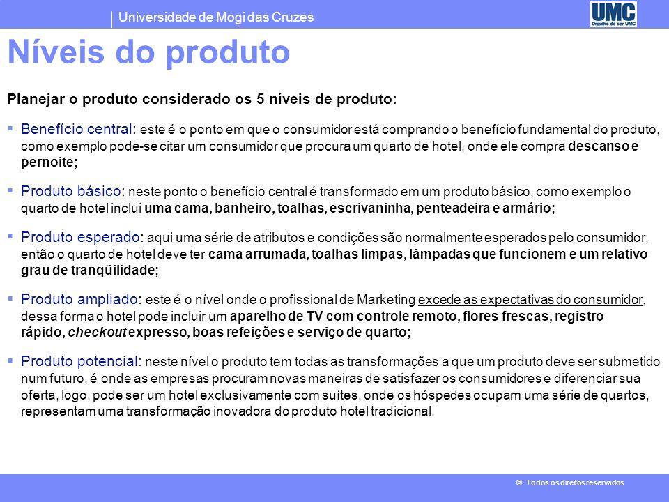 Níveis do produto Planejar o produto considerado os 5 níveis de produto: