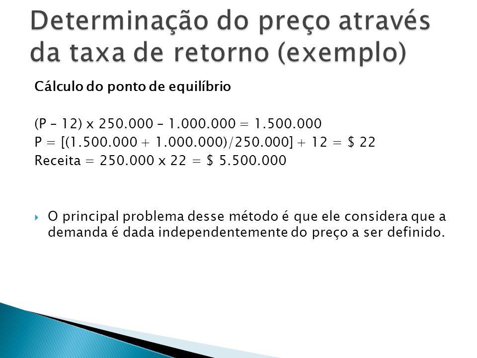 Determinação do preço através da taxa de retorno (exemplo)