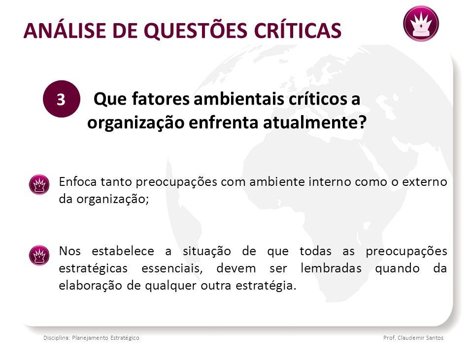 ANÁLISE DE QUESTÕES CRÍTICAS
