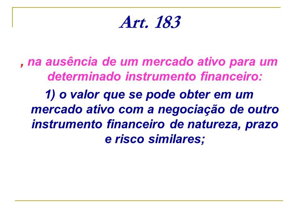 Art. 183, na ausência de um mercado ativo para um determinado instrumento financeiro: