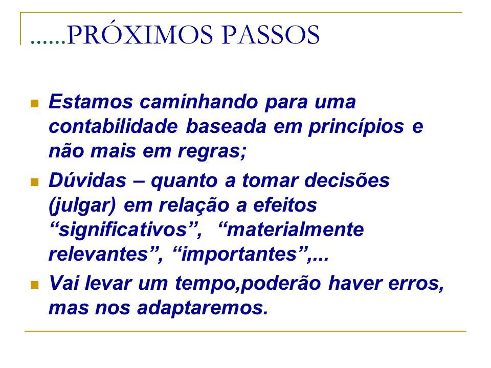 ......PRÓXIMOS PASSOSEstamos caminhando para uma contabilidade baseada em princípios e não mais em regras;