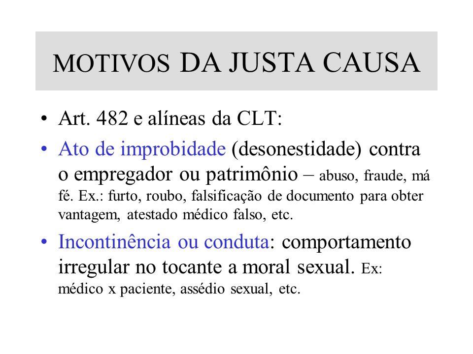 MOTIVOS DA JUSTA CAUSA Art. 482 e alíneas da CLT: